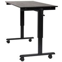 Luxor STANDCF60-BK/BO Stand Up Desk with Black Steel Frame and Black Oak Desktop - 60 inch
