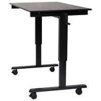 Luxor STANDCF48-BK/BO Stand Up Desk with Black Steel Frame and Black Oak Desktop - 48 inch