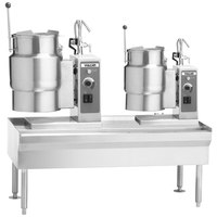 Vulcan VEKT64/126 64 inch Table with (1) 12 Gallon and (1) 6 Gallon Electric Tilting Kettle - 208V, 19.5 kW
