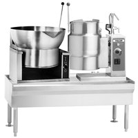 Vulcan VEKT64/B1612 64 inch Table with (1) 16 Gallon Braising Pan and (1) 12 Gallon Electric Tilting Kettle - 208V, 19.5 kW