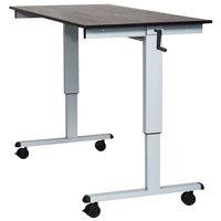 Luxor STANDCF60-AG/BO Stand Up Desk with Silver Steel Frame and Black Oak Desktop - 60 inch
