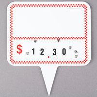 Write On Deli Sign Spear Wheel with Insert - Red Checkered - 25/Pack
