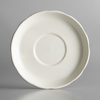 Choice 6 inch Ivory (American White) Scalloped Edge Stoneware Saucer - 36/Case