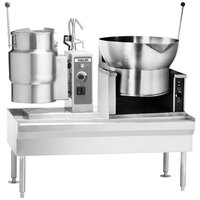 Vulcan VEKT64/12B16 64 inch Table with (1) 12 Gallon Electric Tilting Kettle and (1) 16 Gallon Braising Pan - 208V, 12.5 kW