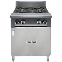 Vulcan V4B24B-NAT V Series Natural Gas 4 Burner 24 inch Heavy-Duty Range with Cabinet Base - 132,000 BTU