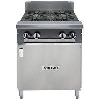 Vulcan V4B24B-LP V Series Liquid Propane 4 Burner 24 inch Heavy-Duty Range with Cabinet Base - 132,000 BTU