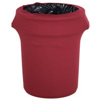 Marko EMB5026WC44046 Embrace 44 Gallon Burgundy Spandex Round Waste Container Cover