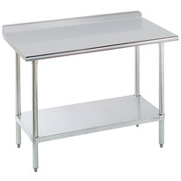 Advance Tabco SFLAG-245-X 24 inch x 60 inch 16 Gauge Stainless Steel Work Table with 1 1/2 inch Backsplash and Stainless Steel Undershelf