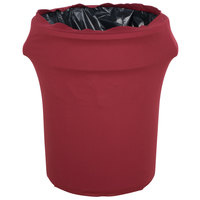 Marko EMB5026WC55046 Embrace 55 Gallon Burgundy Spandex Round Waste Container Cover
