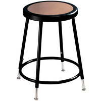 National Public Seating 6218H Black 19 inch - 27 inch Adjustable Hardboard Round Lab Stool