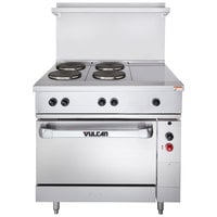 Vulcan EV36-S-4FP-1HT-240 Endurance Series 36 inch Electric Range with 4 French Plates, 1 Hot Top, and 1 Standard Oven - 240V