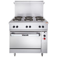 Vulcan EV36S-6FP208 Endurance Series 36 inch Electric Range with 6 French Plates and Oven Base - 208V, 17 kW