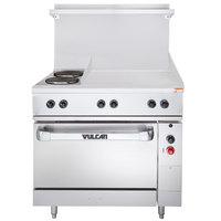 Vulcan EV36-S-2FP-24G-208 Endurance Series 36 inch Electric Range with 2 French Plates, 24 inch Griddle, and 1 Standard Oven - 208V, 15.8 kW