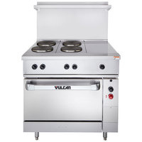 Vulcan EV36-S-4FP-1HT-480 Endurance Series 36 inch Electric Range with 4 French Plates, 1 Hot Top, and 1 Standard Oven - 480V