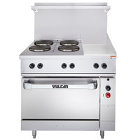 Vulcan EV36-S-4FP-12G-240 Endurance Series 36 inch Electric Range with 4 French Plates, 12 inch Griddle, and 1 Standard Oven - 240V, 16.4 kW