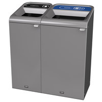 Rubbermaid 1961753 Configure 38 Gallon Stenni Gray 2 Stream Landfill and Paper Indoor Waste / Recycling Station
