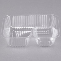 Carnival King Clear 2 Compartment Plastic Nacho Tray   - 500/Case