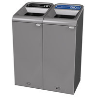 Rubbermaid 1961752 Configure 30 Gallon Stenni Gray 2 Stream Landfill and Paper Indoor Waste / Recycling Station