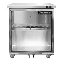Continental Refrigerator SW27-U-GD 27 inch Low Profile Front Breathing Undercounter Refrigerator with Glass Door - 7.4 Cu. Ft.