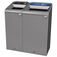 Rubbermaid 1961750 Configure 38 Gallon Stenni Gray 2 Stream Landfill and Mixed Recycling Indoor Waste / Recycling Station