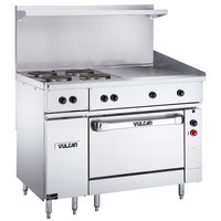 Vulcan EV48S-4FP24G208 Endurance Series 48 inch Electric Range with 4 French Plates, 24 inch Griddle, and Oven Base - 208V, 19.8 kW