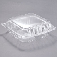 Dart C95PST3 9 1/2 inch x 9 1/2 inch x 3 1/4 inch ClearSeal 3 Compartment Hinged Lid Plastic Container - 100/Pack