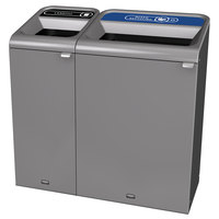 Rubbermaid 1961751 Configure 48 Gallon Stenni Gray 2 Stream Landfill and Mixed Recycling Indoor Waste / Recycling Station