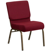 Flash Furniture FD-CH0221-4-GV-3169-GG Burgundy 21 inch Extra Wide Church Chair with Gold Vein Frame