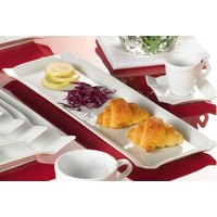 CAC TMS-51 Times Square 15 1/2 inch x 10 inch Bright White Rectangular China Platter - 12/Case