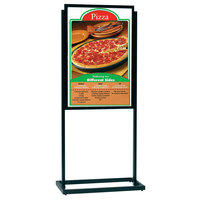 Aarco BPH1BK Boaster 24 1/2 inch x 63 inch Black Double Sided Freestanding Poster / Sign Holder