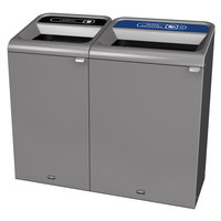Rubbermaid 1961755 Configure 56 Gallon Stenni Gray 2 Stream Landfill and Mixed Recycling Indoor Waste / Recycling Station