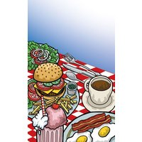 8 1/2 inch x 11 inch Menu Paper - Diner Theme Cover - 100/Pack