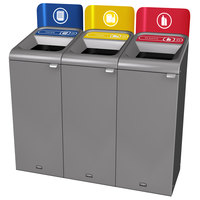 Rubbermaid 1961775 Configure 45 Gallon Stenni Gray 3 Stream Paper, Cans, and Plastic Indoor Recycling Station with Signs