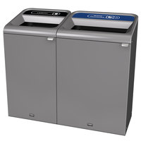 Rubbermaid 1961785 Configure 56 Gallon Stainless Steel 2 Stream Landfill and Mixed Recycling Indoor Waste / Recycling Station