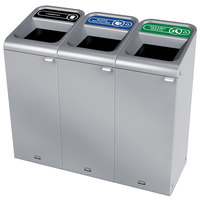 Rubbermaid 1961786 Configure 45 Gallon Stainless Steel 3 Stream Landfill, Mixed Recycling, and Organic Waste Indoor Waste / Recycling Station