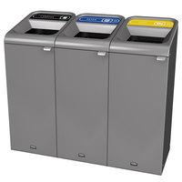 Rubbermaid 1961758 Configure 45 Gallon Stenni Gray 3 Stream Landfill, Paper, and Cans Indoor Waste / Recycling Station