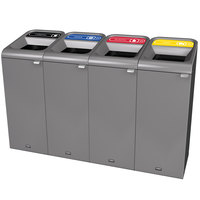 Rubbermaid 1961760 Configure 60 Gallon Stenni Gray 4 Stream Landfill, Paper, Plastic, and Cans Indoor Waste / Recycling Station