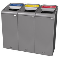 Rubbermaid 1961757 Configure 45 Gallon Stenni Gray 3 Stream Paper, Cans, and Plastic Indoor Recycling Station