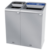 Rubbermaid 1961783 Configure 38 Gallon Stainless Steel 2 Stream Landfill and Paper Indoor Waste / Recycling Station