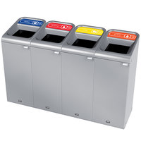 Rubbermaid 1961801 Configure 60 Gallon Stainless Steel 4 Stream Paper, Plastic, Cans, and Glass Indoor Recycling Station