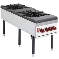 Wolf WSPR2F-LP Liquid Propane 2 Burner Countertop Stock Pot Range - 220,000 BTU