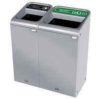 Rubbermaid 1961784 Configure 38 Gallon Stainless Steel 2 Stream Landfill and Organic Waste Indoor Waste / Recycling Station