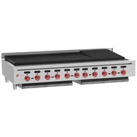 Wolf ACB60-NAT Natural Gas Low Profile 60 inch Medium-Duty Radiant Gas Countertop Charbroiler - 187,000 BTU