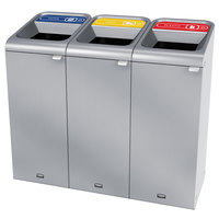 Rubbermaid 1961787 Configure 45 Gallon Stainless Steel 3 Stream Paper, Cans, and Plastic Indoor Recycling Station