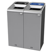Rubbermaid 1961782 Configure 30 Gallon Stainless Steel 2 Stream Landfill and Paper Indoor Waste / Recycling Station