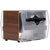 Vollrath 7545-12 Walnut Two Sided Tabletop Fullfold Limited Napkin Dispenser with Clear Faceplate
