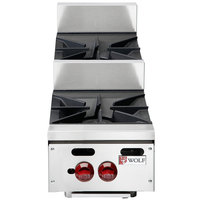 Wolf AHP212U-LP Achiever Liquid Propane 12 inch 2 Burner Step Up Countertop Range - 55,000 BTU