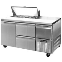 Continental Refrigerator CRA60-10-D 60 inch 1 Door 2 Drawer 1 Half Door Refrigerated Sandwich Prep Table