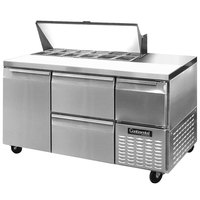 Continental Refrigerator CRA60-12-D 60 inch 1 Door 2 Drawer 1 Half Door Refrigerated Sandwich Prep Table