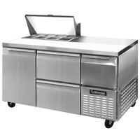 Continental Refrigerator CRA60-8-D 60 inch 1 Door 2 Drawer 1 Half Door Refrigerated Sandwich Prep Table